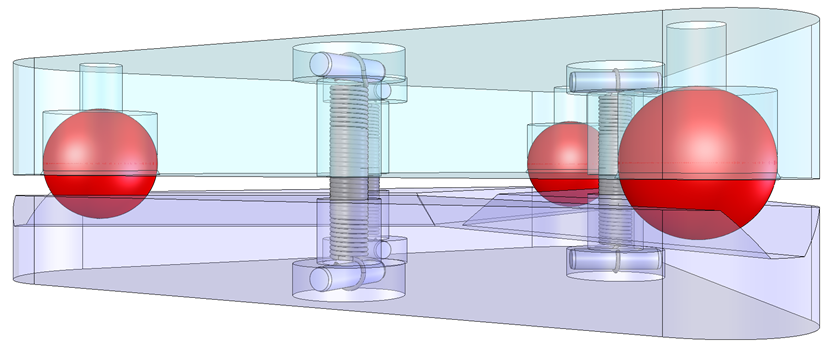A Maxwell-clamp style kinematic mount with 3 ball-and-v-groove contacts. Preload is applied by three extension springs between the contacts.