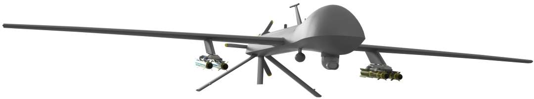Predator drone with stabilized gimbal optical payload