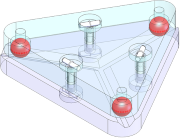 Isometric view of a Maxwell-style kinematic mount